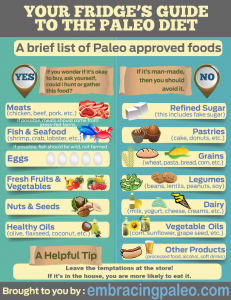 An infographic containing a brief list of paleo approved foods